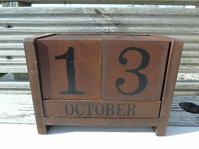 Vintage Wooden Perpetual Calendar Dark Wood Desk Calendar Large