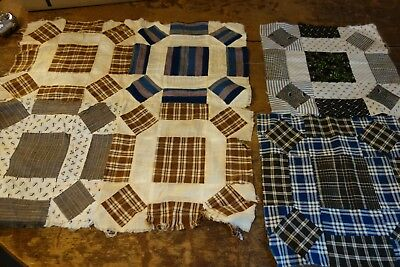 "Victorian Quilt Blocks -6 pcs- Puss in the Corner Pattern-10""x10"" each-Calico"