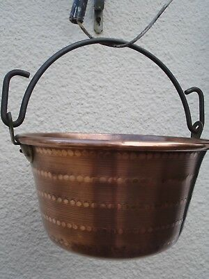 Vintage French Hand Decorated Copper Cauldron Iron Hanging Handle Copper Rivets