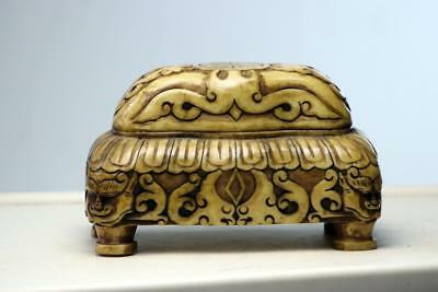 Large Antique  Chinese Carved Stone Box  Quartz or Soap Stone