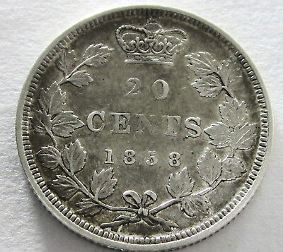 Canada Silver 20 Cents 1858, KM 4, Circulated, Uncertified