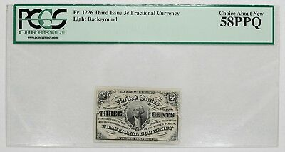 Third Issue 3C Fractional Currency Fr 1226 Pcgs Choice About New 58 Ppq (137)