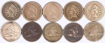 Lot of 10 Flying Eagle & Indian Head Copper-Nickel Cent 1C 1857-1864 CN G