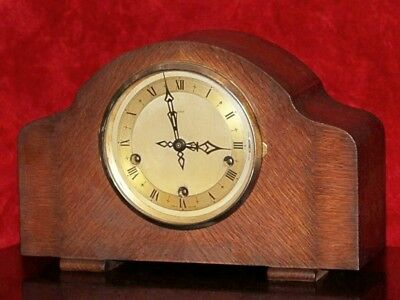 Antique Art Deco 'ENFIELD' Mantel Oak Clock with Westminster Chimes & Key