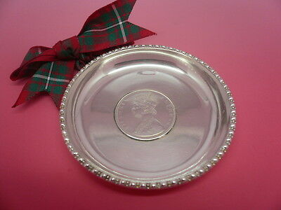 Silver Coin Dish, Solid, Antique, 1891 Indian Rupee, India, Queen Victoria