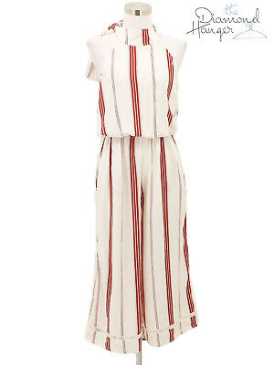 f465312c85d NEW FAITHFULL THE BRAND Designer Jumpsuit Size 4 8 Red White Pin Striped