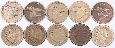 Lot of 10 Flying Eagle & Indian Head Copper-Nickel Cent 1C 1857-1864 CN J