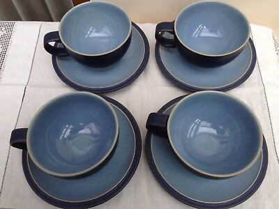 4 x Denby Blue Jetty Breakfast Cup and Saucer Sets - Dark Blue Colourway
