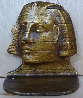 Old EGYPTIAN PHAROAH Cast Iron Bookend D-A-L original old gold painted surface