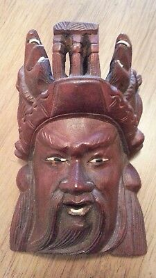Antique  Rosewood Hand Carved Mask Of Emperor With Birds Ravens China