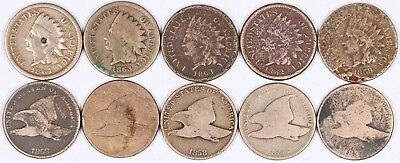 Lot of 10 Flying Eagle & Indian Head Copper-Nickel Cent 1C 1857-1864 CN L