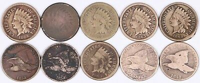 Lot of 10 Flying Eagle & Indian Head Copper-Nickel Cent 1C 1857-1863 CN L-A
