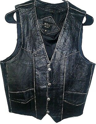 Vintage Black Leather Vest From Nice London Small