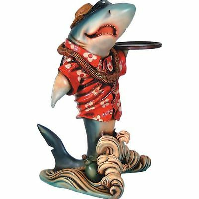 """New Shark Butler Statue With Tray Home Decor Free Gift Game Pub Shipping 35"""""""