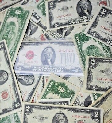 $2 Silver Certificates~Red Seal~Jefferson Dollars~1928~1953~1963~Old Estate $$$$