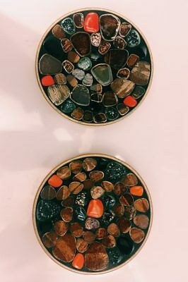 Vintage mosaic tile catch-all dishes or ashtrays (set of 2) clay, metal '70s