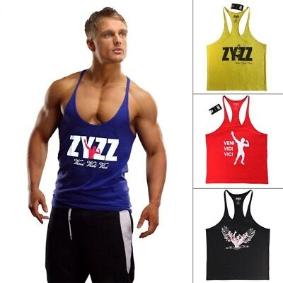 e9bb8384 Men Tank Top Fitness Singlets Bodybuilding Stringer Gyms Clothing Muscle  Shirt