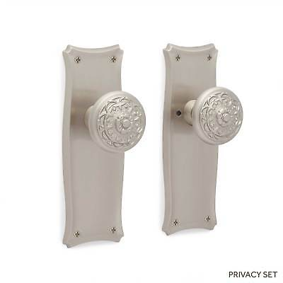 Augustin Tapered Door Plate & Floral Round Knob Set Dummy Privacy & Passage