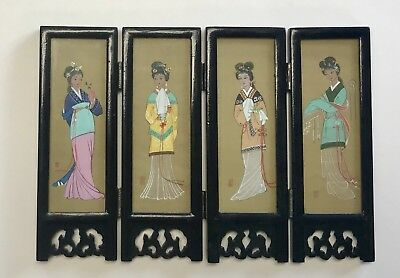 Vintage Japanese Lacquer & Silk Hand Painted Table Panel Geisha Girls 2 Sided
