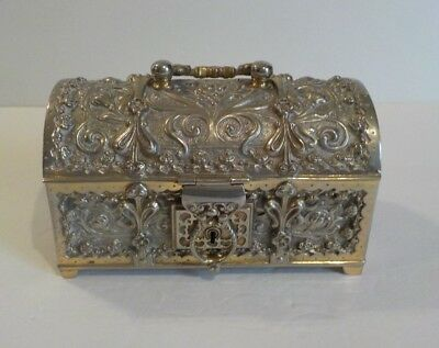German Embossed Silver Jewelry Casket, Georg Leykauf, Germany