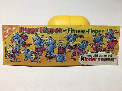 Ü-Ei Die Happy Hippos im Fitness-Fieber 1991 Beipackzettel 100% Original TOP