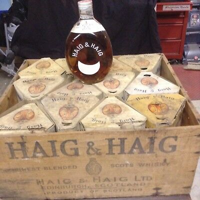 vintage 1936 Haig and Haig Scots whiskey wooden crate, box....