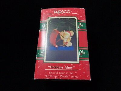 Enesco Ornament 1991 Holidays Ahoy 2nd Issue Clothespin Parade Mouse Sailing