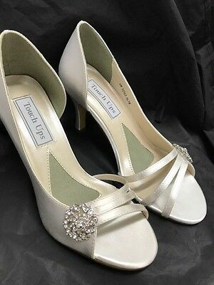 "Sharmain Touch Ups Ivory Satin Wedding Diamanté 2 5/8"" heel Size 9.5"