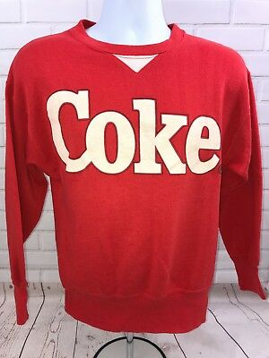 Vintage 1987 COKE Wearables Red White Logo Crewneck Sweatshirt Medium Coca Cola