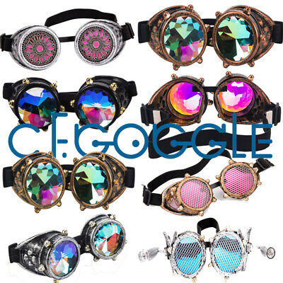 Geometric Prism Kaleidoscope Goggles Rave Dance Refraction Fashion Sunglasses US