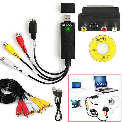 USB 2.0 Audio TV Video VHS to DVD PC HDD Converter Capture Card Full Scart Kit