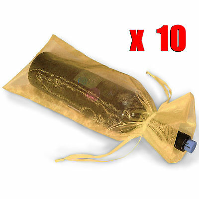 10 x Sheer Organza Wine Bottle Gift Bags Weddings Holidays Parties Gold