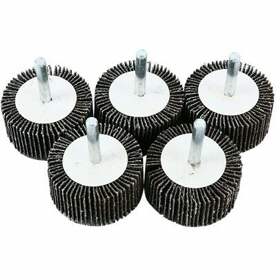 "5 Pack Abrasive Flap Wheels 2"" x 1"" x 1/4"" Shank Aluminum Oxide 120 Grit Mounted"