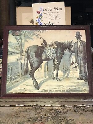 "Antique GREEN RIVER WHISKEY Lithograph Advertising Sign 17""x14"" Copyright 1899"