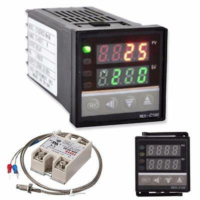 Digital PID Temperature Controller Thermostat REX-C100 +K Type Max.40A SSR Relay