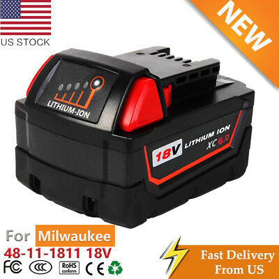 Replace 18Volt For Milwaukee 48-11-1811 48-11-1822 M18 XC 6.0 48-11-1850 Battery
