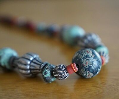 Antique Tibetan Bead Old Amulet Genuine Necklace Nepal Genuine Turquoise
