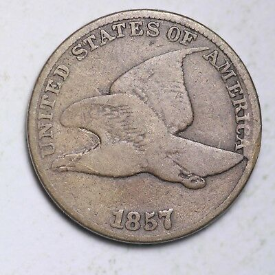 1857 MAJOR CUD OBV. Flying Eagle Small Cent CHOICE VG FREE SHIPPING E115 XPT
