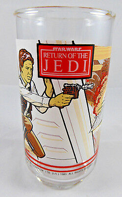 Star Wars 1983 RETURN OF THE JEDI Han Solo/Luke  Burger-King Coca-Cola  Glass 10