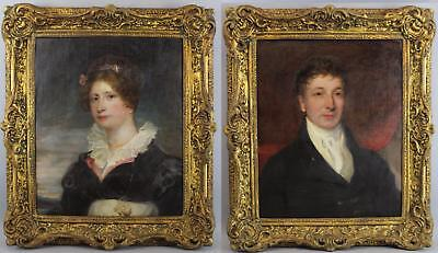 Antique English Portrait Oil Paintings Isabella John East Dix London Silversmith