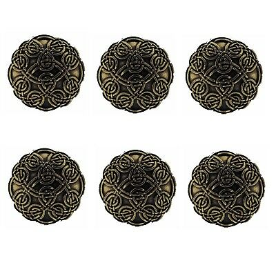 "Set of 6 WESTERN HORSE SADDLE TACK LEATHER CRAFT 1-1/8"" CELTIC CONCHOS screwback"