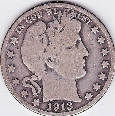 1913 D Barber Half Dollar grades VERY GOOD, ONLY 534,000 MINTED stkBH16
