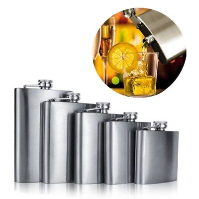 1X Stainless Steel Hip Liquor Whiskey Alcohol Flask Funnel Cap Hip Pocket 9 Size