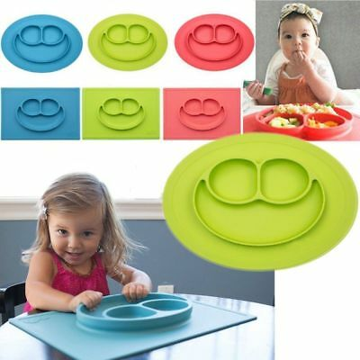 Cute Silicone Happy Mat Baby Kids Suction Table Food Tray Placemat Plate Bowl US