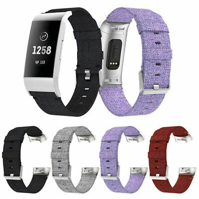 For Fitbit Charge 3 Watch Replacement Woven Canvas Fabric Watch Band Wrist Strap