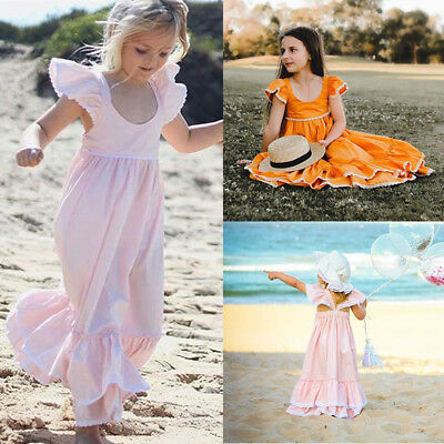 Kid Baby Girl Long Dress Lace Ruffle Party Gown Bridesmaid Dresses Sundress 1-6Y