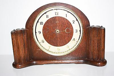 Old Wooden Smiths 30 Hour Mantle Clock - Not Working - Sold as Spares or Repairs