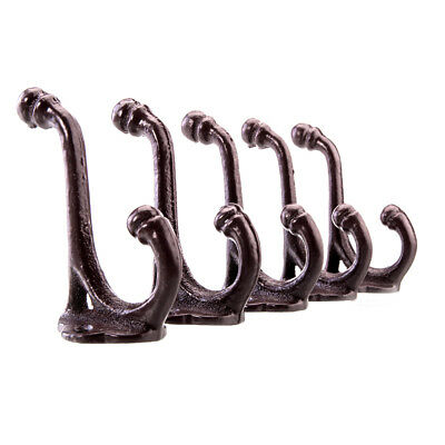 5 x Cast Iron Hollow Out Coat Hooks Hat Rack Hall Tree Acorn Hook Brownish Red