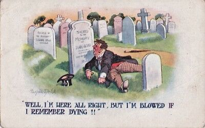 Donald McGill Comic Postcard 1920s REMEMBER DYING! Theme No 3466