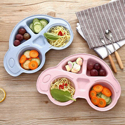 Cute Wheat Straw Car Shape Baby Kids Suction Table Food Tray Mat Plate Bowl UK